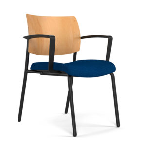 Focus Side Chair with wood back and black frame